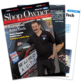 Shop Owner Magazine Cover featuring European Auto Tech