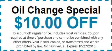 $10 Oil Change Discount Coupon