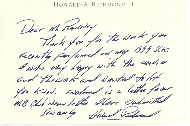 Howard Richmond thankyou