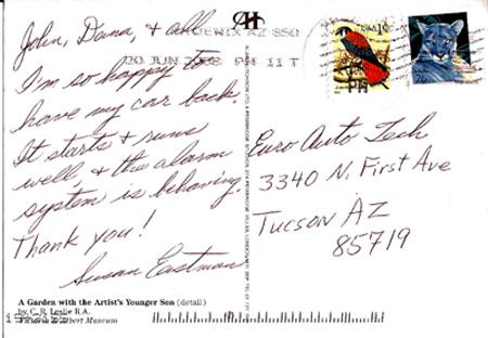 Thank You Card - Susan Eastman