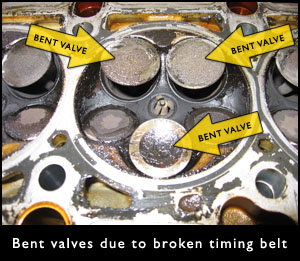 Bent Valves Due to Broken Timing Belt
