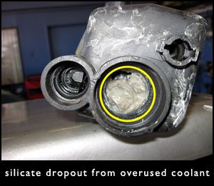 Silicate dropout from overused engine coolant
