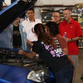 Checking power steering fluid European Auto Tech how to keep your BMW alive tech session with Bogi from All Girls Garage with BMW CCA Sonora Chapter